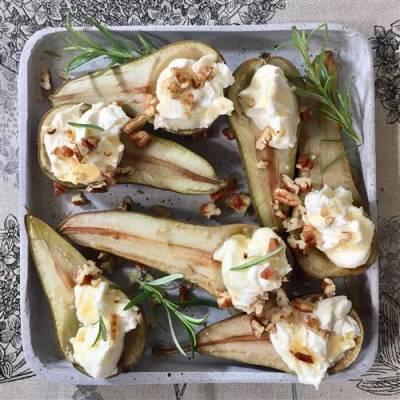 Pähkinäiset mascarpone-hunajapäärynät